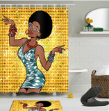 afrocentric shower curtain curtains pop African american theme themed natural hair hip hop home decor bathroom unique urban bath tub decoration idea design