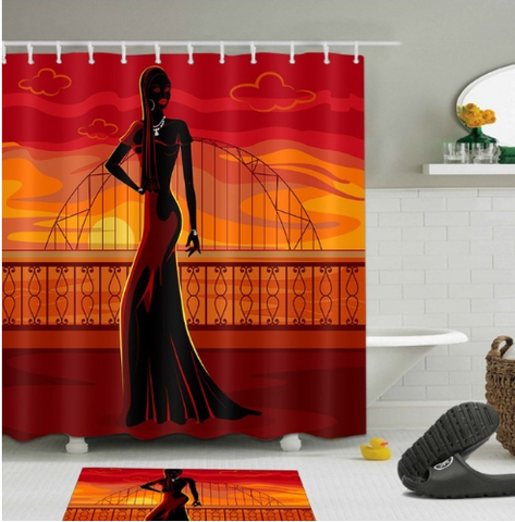 Afrocentric Shower Curtain Curtains Pop African American Theme Themed Natural Hair Hip Hop Home Decor Bathroom