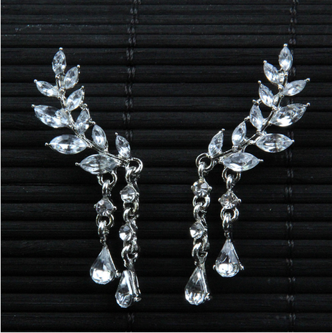angel wing rhinestone earrings ear rings cubic zirconia cz fake jewelry accessories accessory fashion wedding prom quinceaneara quince sweet 16 15 birthday gift idea present christmas anniversary