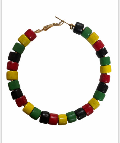 beaded pan african earrings natural hair jewelry afrocentric accessories pro black african american red green black yellow gold hoop accessory fashion outfit idea clothing