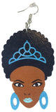 blue afro princess natural hair earrings earings centric afrocentric african american colored wooden nubian dangle hoop wood queen ear kwanzaa twist brown dangle hoop drop kwanza ethnic twa twistout  loc sisterlocks jewelry black styles women lady