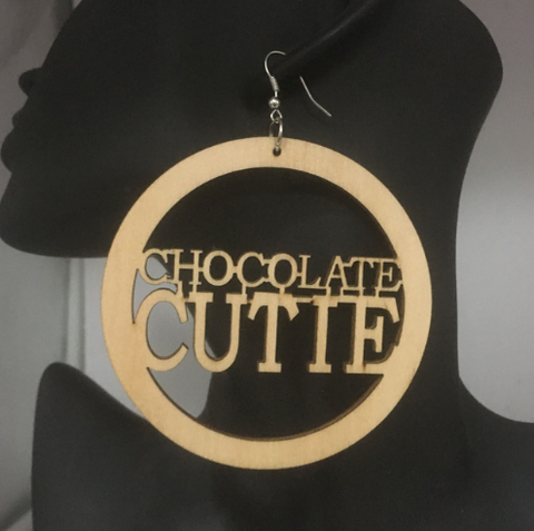 chocolate cutie earrings | natural hair earrings | afrocentric earrings | afrocentric fashion | afrocentric jewelry | natural hair jewelry | accessories | fashion | wooden earrings | twa | african american