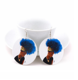 colorfro | natural hair | natural hair earrings | afrocentric earrings | jewelry | accessories | fashion | outfit | headwrap | twa | ear ring | head wrap blue hair