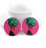 colorfro | natural hair | natural hair earrings | afrocentric earrings | jewelry | accessories | fashion | outfit | headwrap | twa | ear ring | head wrap pink with green hair