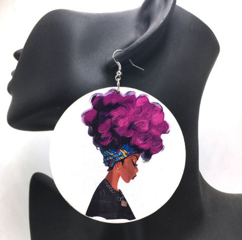 colorfro | natural hair | natural hair earrings | afrocentric earrings | jewelry | accessories | fashion | outfit | headwrap | twa | ear ring | head wrap purple hair