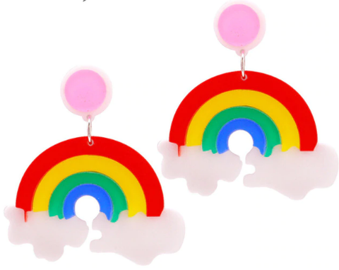 rainbow earrings colorful accessories whimsical jewelry lesbian lgbt gay fashion outfit accessory idea clothing ear candy