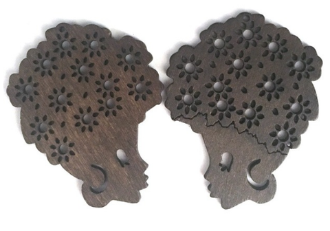 curly sue natural hair earrings afrocentric afro jewelry accessories ear ring rings earring fashion clothing outfit idea brown wood wooden