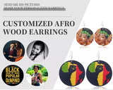 custom wood earrings customized ear rings jewelry wooden print on demand accessories afro natural hair wholesale afrocentric