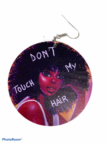 dont don't touch my hair earrings natural hair jewelry afrocentric accessories fashion outfit idea clothing gift unique urban idea clothing fashion outfit accessory african american cheap cute