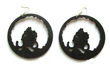 black full afro hoop earrings | Afrocentric earrings | natural hair earrings