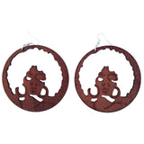 brown full afro hoop earrings | Afrocentric earrings | natural hair earrings