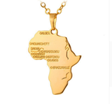 gold africa pendant necklace map shaped jewelry african accessories fashion outfit gift idea continent mens women men ladies unisex kids children girls female male