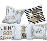 Gold Foil Design Pillow Case Cover - Home Decorations