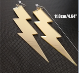 gold lightning bolt earrings acrylic plastic womens men woman man ladies girls female jewelry accessories accessory fashion outfit idea clothing large unique whimsical urban