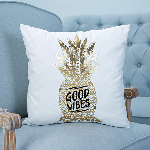good vibes pineapple gold foil pillow case cover home decor first apartment white unique urban decoration teenager room