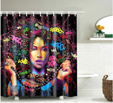 graffiti afro natural hair afrocentric home decor african shower curtains wall art and style pro black household items decorations american bedding cheap cute affordable feminine urban womens woman women ladies apartment home apt house ideas gift christmas kwanzaa birthday anniversary warming dorm help curly twa fro colorful colors lots of