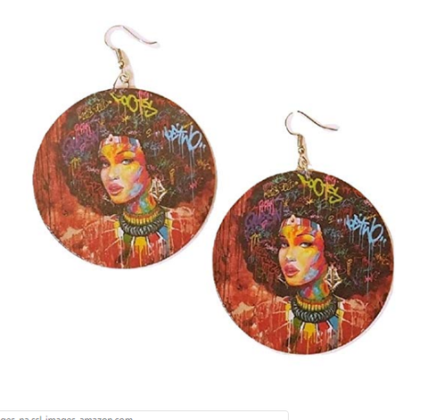 graffiti gigi earrings afro accessories twa jewelry afrocentric accessory african pretty lady jewellery pro black ear candy cheap cute affordable wooden lightweight urban