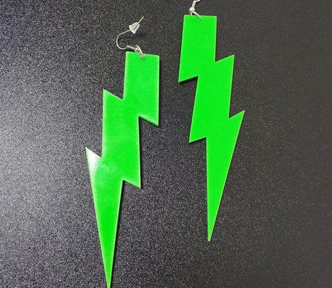 green lightning bolt earrings acrylic plastic womens men woman man ladies girls female jewelry accessories accessory fashion outfit idea clothing large unique whimsical urban