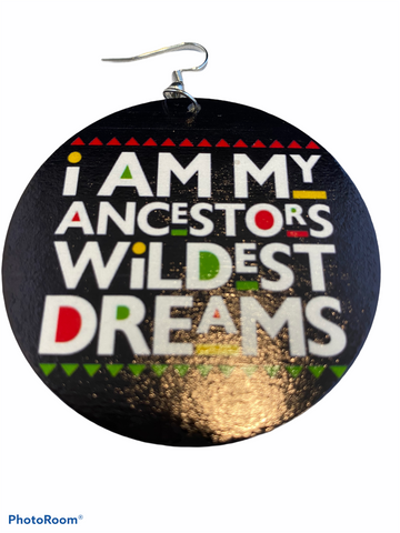 i am my ancestors wildest dreams earrings natural hair earring wood black girls short afrocentric accessories jewellery jewelry cool afro pick map continent wholesale black magic owned minority women woman ladies lady cheap unique cute different american traditional wooden beyonce ankh africhic afrochic