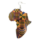 map of Africa earrings kente print ear candy afrocentric fashion clothing outfit idea accessories jewelry accessory jewellery natural hair hairstyles tutorial