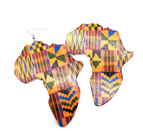 kente print africa earrings map of african jewelry accessories fashion outfit idea natural hair ear ring jewellery accessory