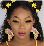 kente print earrings Map of africa shaped jewelry pro black accessories afrocentric accessory jewelry jewellery ear candy natural hair cheap cute different clothing outfit idea unique urban women woman lady ladies tween back to school