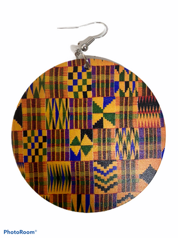 kente print earrings natural hair jewelry afrocentric accessories pro black jewellery ear candy african american accessory fashion outfit idea cheap cute unique different urban gift idea clothing clothes fashion outfit Africa