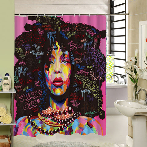 kinky shower curtain afrocentric african american home decor black girl women woman bathroom unique urban ethnic afro decoration gift idea kwanzaa christmas birthday