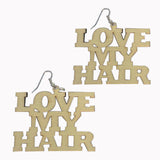 love my hair earrings | natural hair earrings | afrocentric earrings | wooden earrings | afrocentric jewelry | afrocentric fashion | afrocentric clothing | black natural hair | Afro earrings