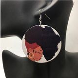 headwrap earrings | Afro earrings | Afrocentric earrings | natural hair earrings | afrocentric fashion | afrocentric jewelry |  wooden earrings | big black earrings | afro earrings for sale