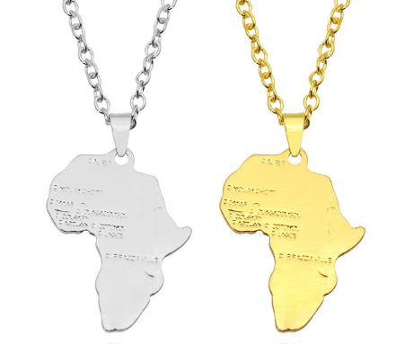 gold silver africa pendant necklace map shaped jewelry accessories fashion outfit gift idea continent mens women men ladies unisex kids children girls female male