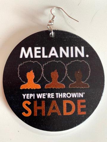 melanin yep were throwin shade earrings afrocentric accessories natural hair jewelry african american apparel fashion outfit idea gift cheap unique different urban accessory kwanzaa christmas birthday