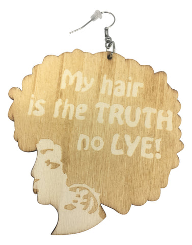 my hair is the truth no lye earrings afrocentric natural hair jewelry accessories fashion afro wooden twa urban unique african american