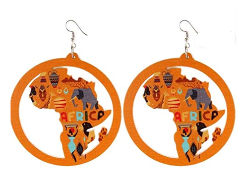 africa earrings african shaped jewelry map of all countries continents accessories accessory fashion outfit gift idea christmas birthday kwanzaa pro black pride jewellery kente print design cheap cute affordable womens light weight