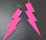 hot pink lightning bolt earrings acrylic plastic womens men woman man ladies girls female jewelry accessories accessory fashion outfit idea clothing large unique whimsical urban