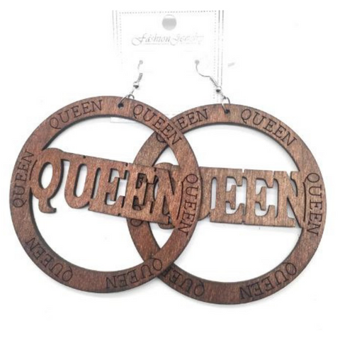 Engraved Queen Wooden Earring | Natural Hair | Ethnic Earring