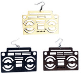 stereo radio raheem earrings tape deck ear rings musical jewelry music boom box boombox accessories black brown natural hair color jewelry jewellery accessory fashion outfit idea unique whimsical urban statement cheap cute affordable ethnic earring
