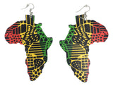 rasta earrings africa accessories african jewelry afrocentric jewellery natural hair accessory ear ring fashion candy outfit idea reggae print clothing map of afrika wooden dangle large huge big green yellow red colors