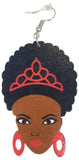 red afro princess earrings natural hair earings centric afrocentric african american colored wooden nubian dangle hoop wood queen ear kwanzaa twist brown dangle hoop drop kwanza ethnic twa twistout  loc sisterlocks jewelry black styles women lady