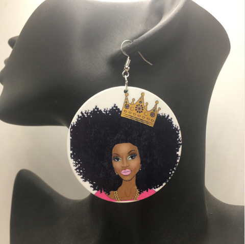 royalty earrings | crown earrings | natural hair | natural hair earrings | afrocentric | afrocentric earrings | afrocentric royalty | jewelry | fashion | accessories | unique | wooden | afro | twa | crown royale | queen | royal