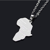 silver africa pendant necklace map shaped jewelry accessories fashion outfit gift idea continent mens women men ladies unisex kids children girls female male african