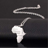silver africa pendant african necklace map shaped jewelry accessories fashion outfit gift idea continent mens women men ladies unisex kids children girls female male