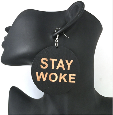 stay woke afrocentric earrings natural hair accessories ear rings ring earring jewelry accessory redbone