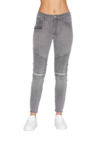 EM1090 Grey Skinny  Pintuck Moto Denim - Etienne Marcel Denim
