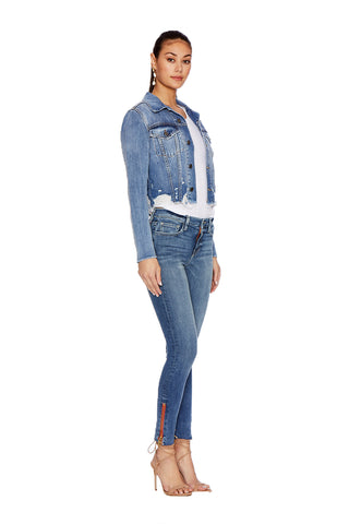 EM12002- Denim Cropped Jacket Etienne Marcel Denim Red Zipper