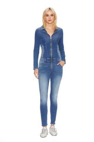 EM3004-Stretch Denim Zip Front Jumpsuit by Etienne Marcel Denim USA