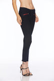 EM31011-Black Skinny With Novelty Zips Denim - Etienne Marcel Denim