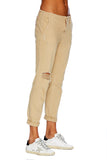 EM31024-Beige- Boyfriend Trouser With Decon Denim - Etienne Marcel Denim