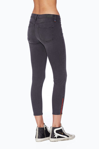 EM7010-Dark Ash  Signture Skinny with Red Zipper Denim - Etienne Marcel Denim