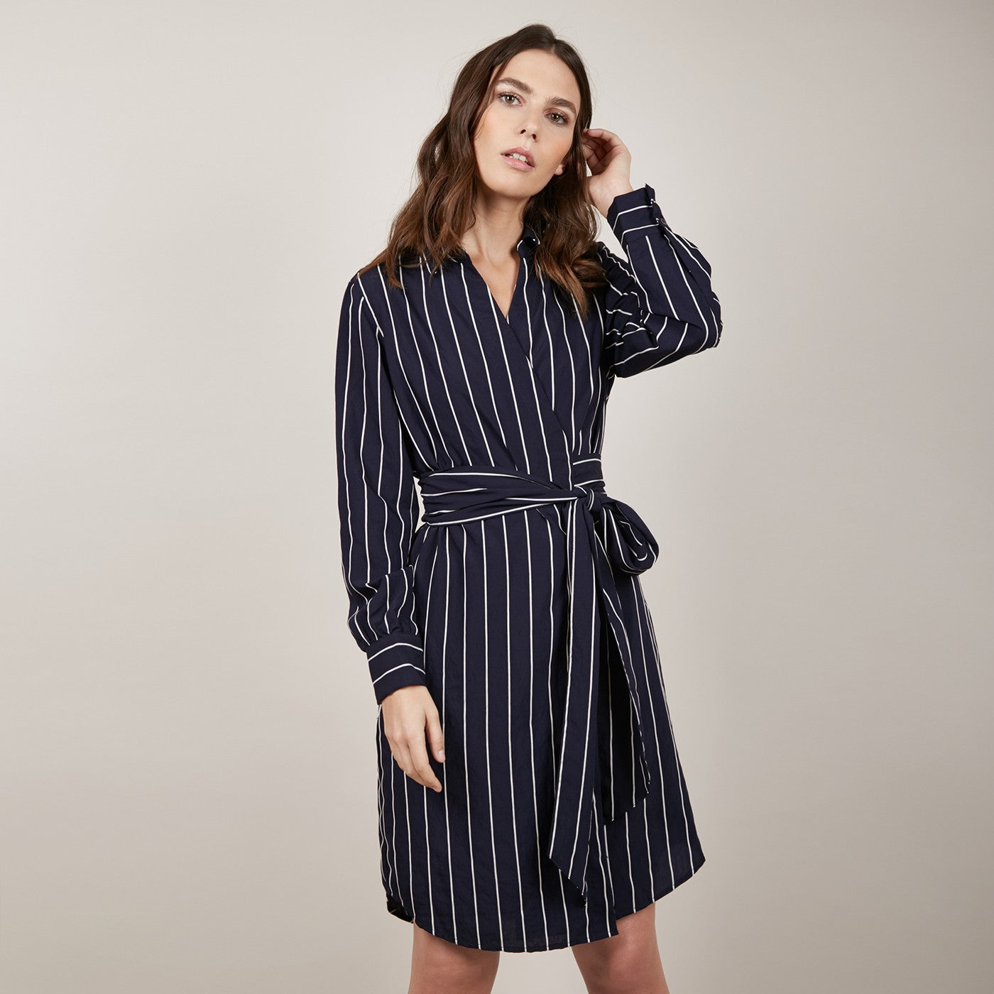 Amy Stripe Wrap Dress